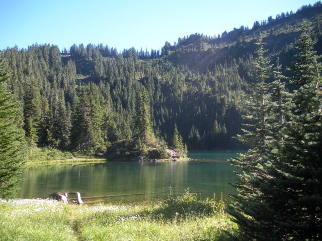 In 2011, I went on a backpacking trip in Olympic National Park, Washington. I was rewarded for a day long hike with this lake.