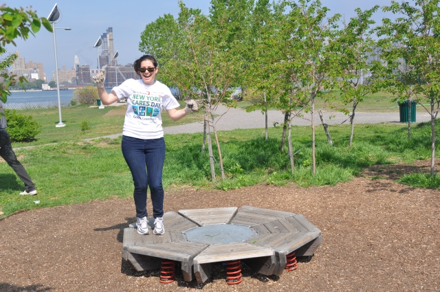 Here's another shot from Cares Day Spring - as you can see, sometimes volunteers jump for joy.