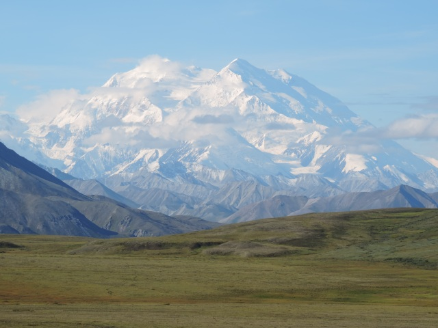 Mount Denali on a rare clear morning.