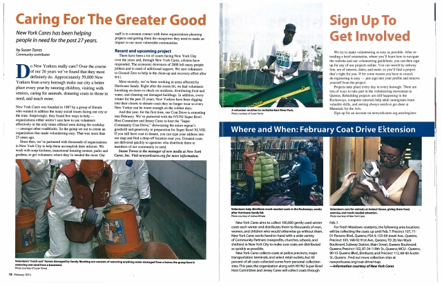 I wrote this article summarizing the work of New York Cares and our need for coats in 2013 for a local community magazine.