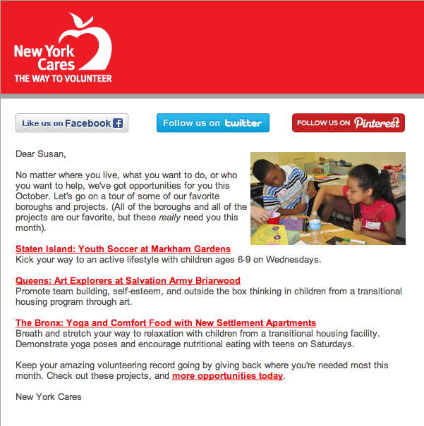 Email encouraging volunteers to