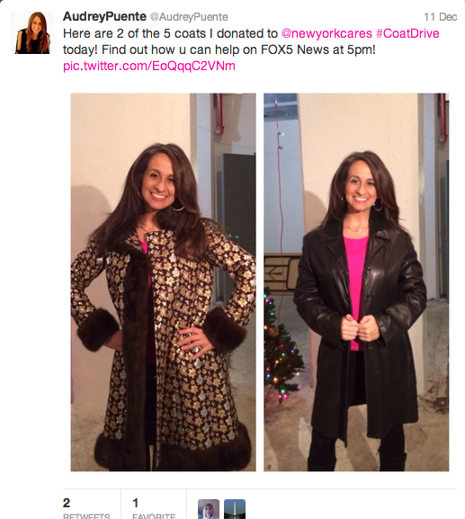 Audrey Puente of Fox 5 covered the Coat Drive's increased demand for coats and even shared her own donation on Twitter.