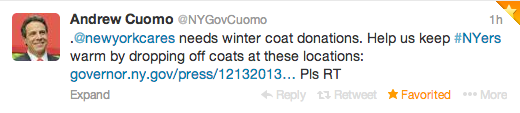 New York Governor Andrew Cuomo eventually released a press release about New York Cares' desperate need for coats, and shared with his Twitter followers.