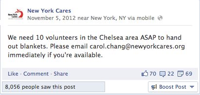 After Hurricane Sandy, the fastest way to reach volunteers was through social media. 20 minutes after posting this to our Facebook page, the project was filled.