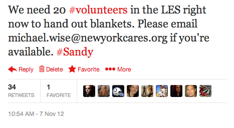 This plea for volunteers was Retweeted many times, and we got the project filled in 15 minutes.